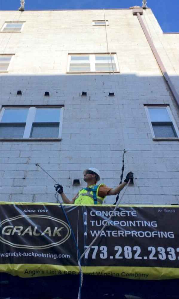 Masonry  Concrete Blocks sealing  and waterproofing condominium buildings  by Gralak Tuckpointing Contractors