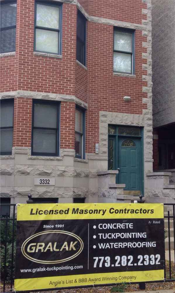 Tuck pointing and waterproofing works by Gralak Masonry Contractors of Chicago.